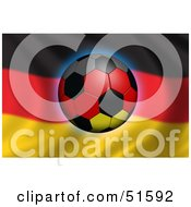 Royalty Free RF Clipart Illustration Of A Soccer Ball Flying In Front Of A Waving Germany Flag Version 2