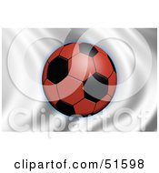Royalty Free RF Clipart Illustration Of A Soccer Ball Flying In Front Of A Waving Japan Flag by stockillustrations