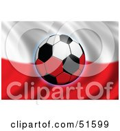Royalty Free RF Clipart Illustration Of A Soccer Ball Flying In Front Of A Waving Poland Flag by stockillustrations