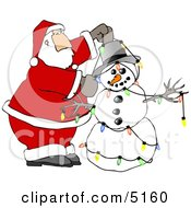 Santa Decorating Snowman With Colorful Christmas Lights Clipart