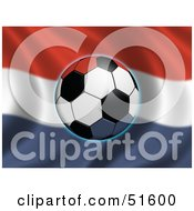 Royalty Free RF Clipart Illustration Of A Soccer Ball Flying In Front Of A Waving Netherlands Flag by stockillustrations