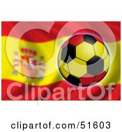 Royalty Free RF Clipart Illustration Of A Soccer Ball Flying In Front Of A Waving Spain Flag