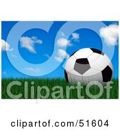 Royalty Free RF Clipart Illustration Of A Soccer Ball Resting Still On Green Grass Under A Blue Sky by stockillustrations
