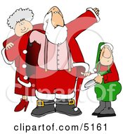 Mrs Claus And Elf Helping Santa Get Dressed For Christmas Clipart