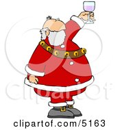 Santa Proposing A Toast With A Glass Of Wine Clipart