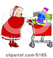 Mrs Clause Pushing A Shopping Cart Full Of Christmas Presents Clipart by djart