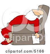 Tired Santa Holding A Blank Paper List Clipart