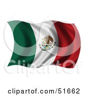 Royalty Free RF Clipart Illustration Of A Wavy Mexico Flag by stockillustrations