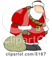 Sad Tired Exhausted Santa Carrying Sack Of Christmas Presents Clipart