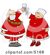 Mr And Mrs Claus Toasting Wine Glasses Together Clipart