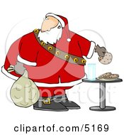 Santa Grabbing Chocolate Chip Cookie While Delivering Christmas Presents Clipart