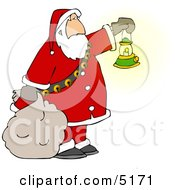 Santa Clause Carrying A Lit Gas Lantern While Delivering Christmas Presents At Night Clipart