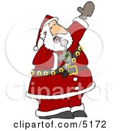 Santa Singing Karaoke Christmas Music Clipart