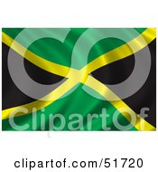 Royalty Free RF Clipart Illustration Of A Wavy Jamaica Flag Version 2 by stockillustrations