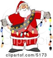 Santa Decorating With Christmas Lights