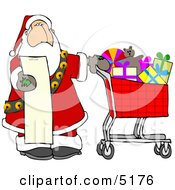 Santa Shopping In A Toy Store From His List Clipart