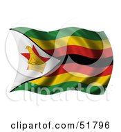 Royalty Free RF Clipart Illustration Of A Wavy Zimbabwe Flag