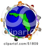 Royalty Free RF Clipart Illustration Of A Circle Of Children Holding Hands Around A Florida Globe