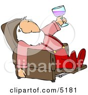 Relaxed Santa Drinking Wine In His Favorite Recliner Chair Clipart
