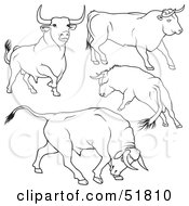 Royalty Free RF Clipart Illustration Of A Digital Collage Of Black And White Bull Outlines Version 1