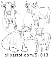 Royalty Free RF Clipart Illustration Of A Digital Collage Of Black And White Cow Outlines Version 1 by dero