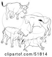 Royalty Free RF Clipart Illustration Of A Digital Collage Of Black And White Bull Outlines Version 8 by dero