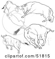 Royalty Free RF Clipart Illustration Of A Digital Collage Of Black And White Bull Outlines Version 5 by dero