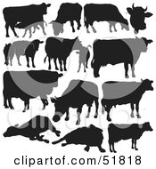 Royalty Free RF Clipart Illustration Of A Digital Collage Of Black And White Cow Silhouettes by dero #COLLC51818-0053