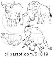 Royalty Free RF Clipart Illustration Of A Digital Collage Of Black And White Bull Outlines Version 3