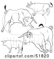 Royalty Free RF Clipart Illustration Of A Digital Collage Of Black And White Bull Outlines Version 4 by dero
