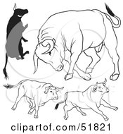 Royalty Free RF Clipart Illustration Of A Digital Collage Of Black And White Bull Outlines Version 11 by dero