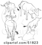 Royalty Free RF Clipart Illustration Of A Digital Collage Of Black And White Bull Outlines Version 7 by dero