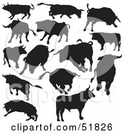 Royalty Free RF Clipart Illustration Of A Digital Collage Of Black And White Bull Silhouettes Version 2 by dero