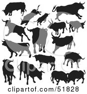 Royalty Free RF Clipart Illustration Of A Digital Collage Of Black And White Bull Silhouettes Version 3 by dero