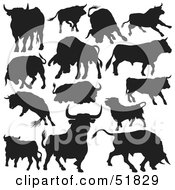 Royalty Free RF Clipart Illustration Of A Digital Collage Of Black And White Bull Silhouettes Version 1 by dero