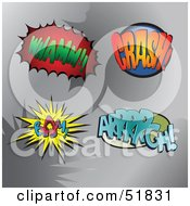 Royalty Free RF Clipart Illustration Of A Digital Collage Of Comic Sound Balloons Whamm Crash Bam Arrrrgh