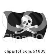 Royalty Free RF Clipart Illustration Of A Wavy Pirate Flag by stockillustrations