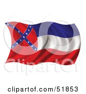 Royalty Free RF Clipart Illustration Of A Wavy Mississippi State Flag