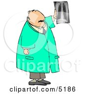 Male Doctor Looking At X Ray Of Human Spine Clipart by Dennis Cox