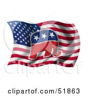 Royalty Free RF Clipart Illustration Of A Republican Elephant Flag Version 2 by stockillustrations #COLLC51863-0101