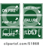 Royalty Free RF Clipart Illustration Of A Digital Collage Of Green Highway Signs On Fire Pump It Up Profit Last Resort Failure And Lost