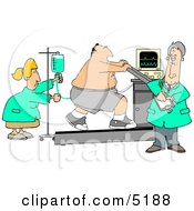 Obese Patient Hooked Up To Medical Machines While Running On A Treadmill And Being Cared For By Doctors And Nurses Clipart