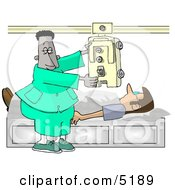 African American Male Doctor Taking An X Ray Of His Patients Chest Clipart