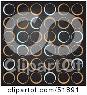 Royalty Free RF Clipart Illustration Of A Retro Background Of Green And Tan Circles On Black by stockillustrations