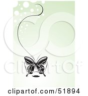 Royalty Free RF Clipart Illustration Of A Pretty Black Butterfly With A Long String On A Pale Green Bubble Background by stockillustrations