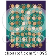 Royalty Free RF Clipart Illustration Of A Retro Background Of Tan Circles On Teal And Purple by stockillustrations