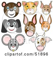 Royalty Free RF Clipart Illustration Of A Digital Collage Of Baby Animal Faces Bear Cat Squirrel Dog Donkey Rabbit Mouse And Cow by dero