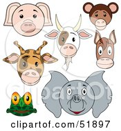Royalty Free RF Clipart Illustration Of A Digital Collage Of Baby Animal Faces Pig Goat Monkey Giraffe Horse Frog And Elephant by dero