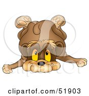 Royalty Free RF Clipart Illustration Of A Cute Toppling Brown Bear by dero