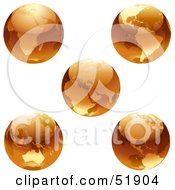 Royalty Free RF Clipart Illustration Of A Digital Collage Of Orange Earths by dero